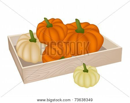 A Pile of Pumpkins in Wooden Box