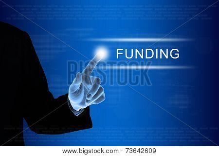 Business Hand Clicking Financial Funding Button On Touch Screen