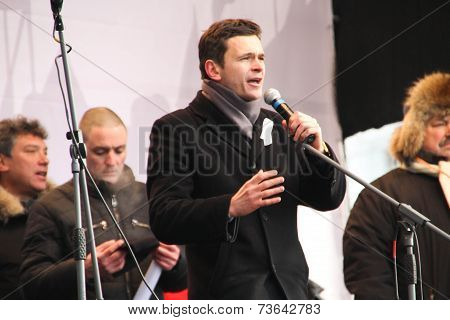 Politician Ilya Yashin on the stage of opposition rally