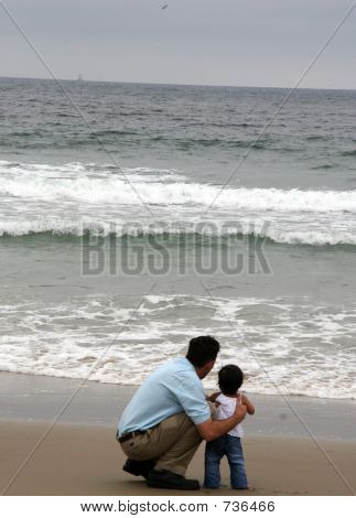 Dad Daughter On Beach
