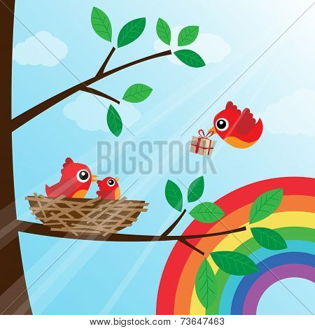 Christmas birds family with rainbow