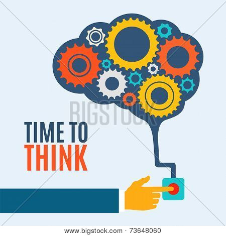 Time to think, creative brain idea concept, background