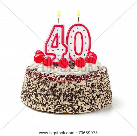 Birthday cake with burning candle number 40