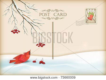 Merry Christmas and Happy New Year celebration vintage postcard with bird, tree branches, post stamp poster