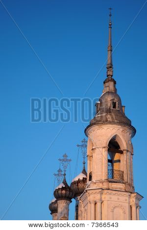 Russian Church At Sunset With Blue Sky Background, Vologda