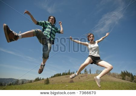 Teen Couple Jumping