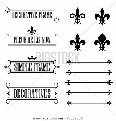 Set of calligraphic flourish design elements - fleur de lis, deviders, frames and borders