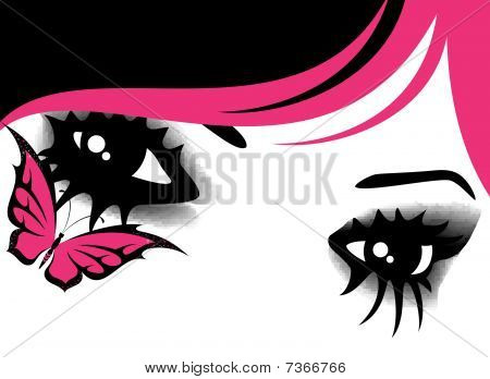 womanish eyes with bright mak-up