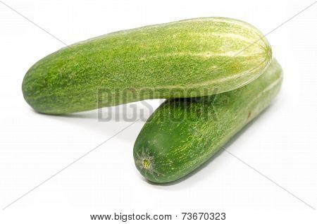 A cucumber isolated on the white background