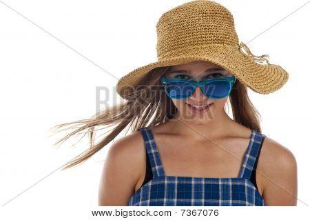 Cute Teen Girl In Blue Sunglasses