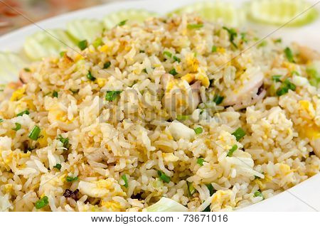 Fried rice with crab on the plate Thai cuisine