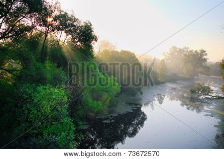 image of an Automn landscape with the image of Oka river, Russia
