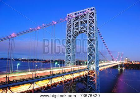 George Washington Bridge at dusk over Hudson River.
