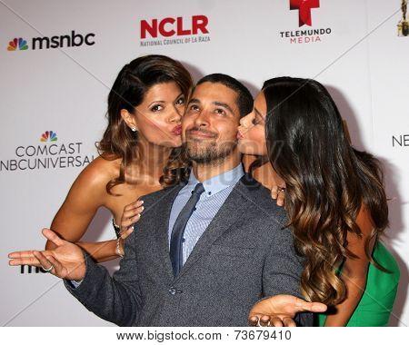 LOS ANGELES - OCT 10:  Andrea Navedo, Wilmer Valderrama, Gina Rodriguez at the 2014 NCLR ALMA Awards Press Room at Civic Auditorium on October 10, 2014 in Pasadena, CA