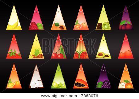 Conjunto de tarjetas con fruta
