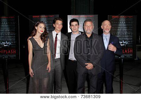 LOS ANGELES - OCT 6:  Melissa Benoist, Miles Teller, Damien Chazelle, Paul Reiser, JK Simmons at the