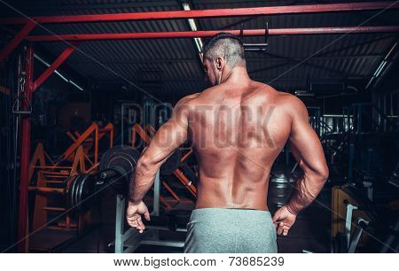 Muscled male model showing his back  poster
