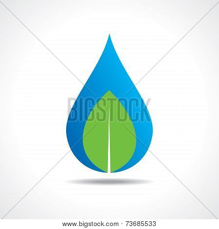 Save nature concept with water drop and leaf stock vector