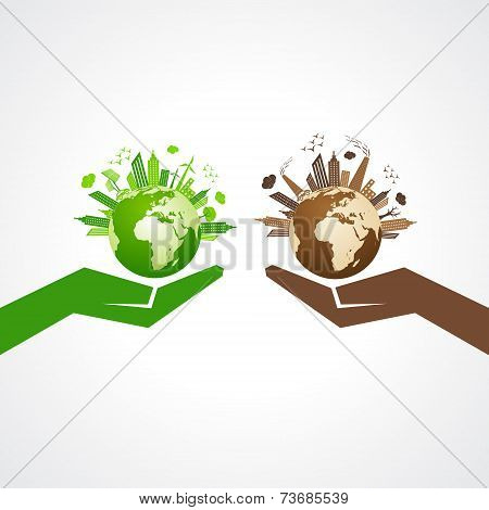 Save nature concept with eco and polluted cityscape stock vector