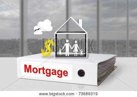 Office Binder Mortgage House Dollar Symbol
