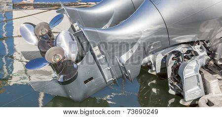 The Double Propellers Behind The Boat.