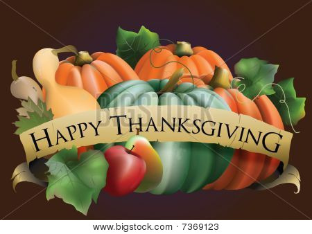 Happy Thanksgiving Banner with Fall Pumpkins