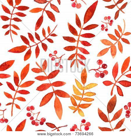 vector seamless pattern with red autumn watercolor leaves, hand drawn vector background poster