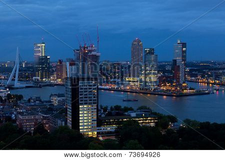 View from air to night Rotterdam