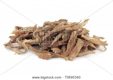 Stemona root herb used in chinese herbal medicine over white background. Bai bu.