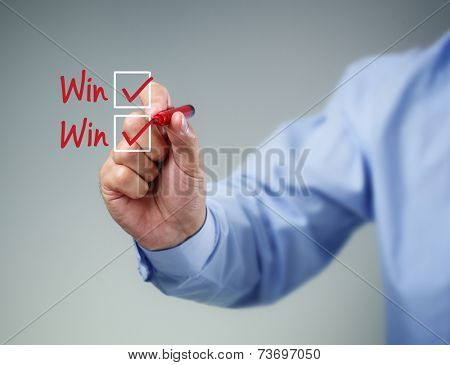 Checklist on whiteboard with businessman hand drawing win-win and a check mark in both checkbox poster