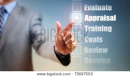 Businessman selecting self improvement options for appraisal, goals and training poster