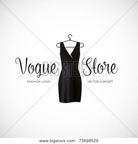 Fashion Vogue Store Logo Template With Black Dress