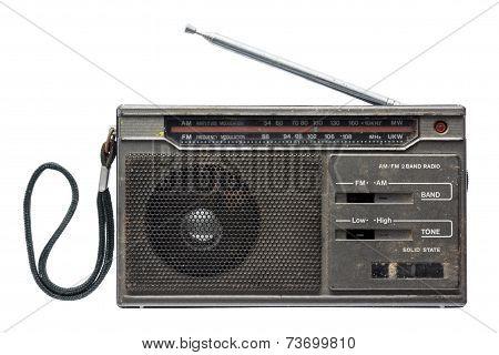 Old Transistor Radio Isolated On White Background.