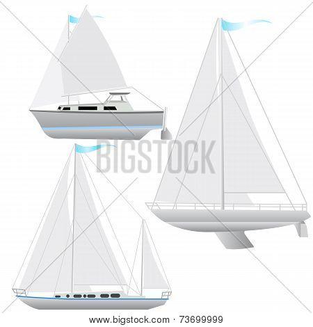 Set sailing boat floating.