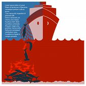 Stop shark finning and safe nature.Vector red flyer for design poster