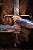 Beautifull redhead strong viking warrior woman, shieldmaiden poster