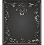 Hand drawn seafood  Menu design on  blackboard poster