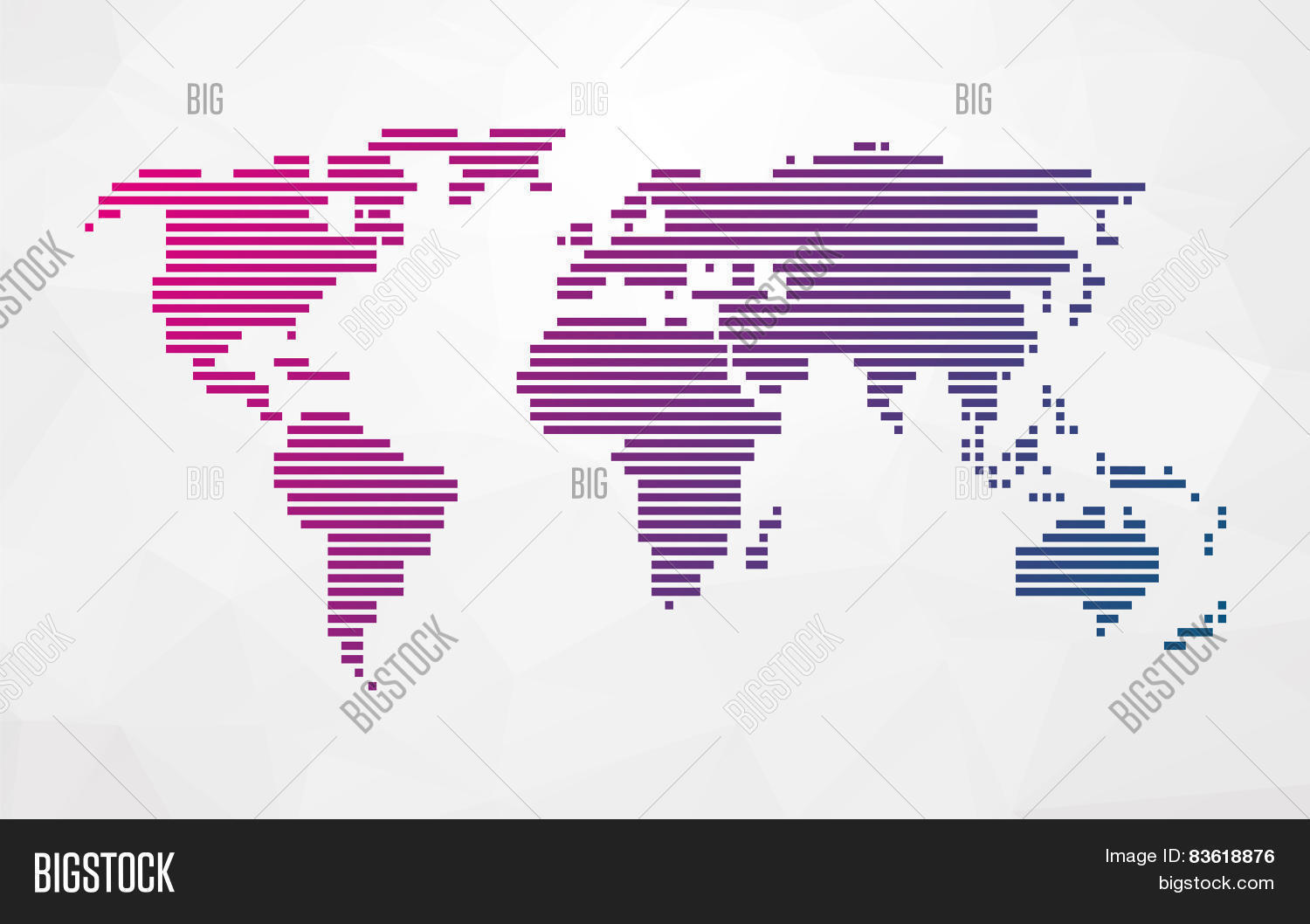 Simple world map made vector photo free trial bigstock simple world map made up of colored stripes on a bright triangular background gumiabroncs Image collections