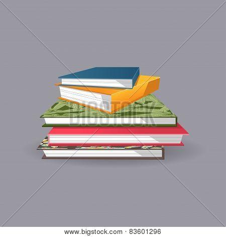 Pile Of Books. Vector Illustration