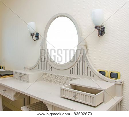 Wooden Carved Dressing Table With Blank Frame In Room