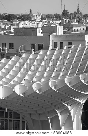 Old Building Facade And Sunshade Building In Seville. Spain