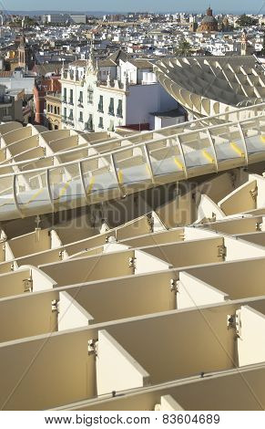 Old Building Facades And Sunshade Building In Seville. Spain