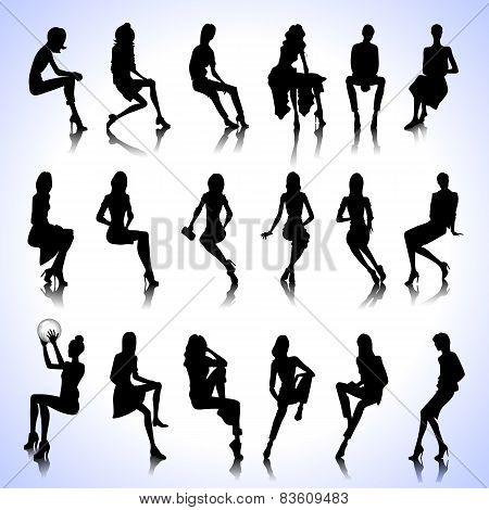 Set Of Sitting Women