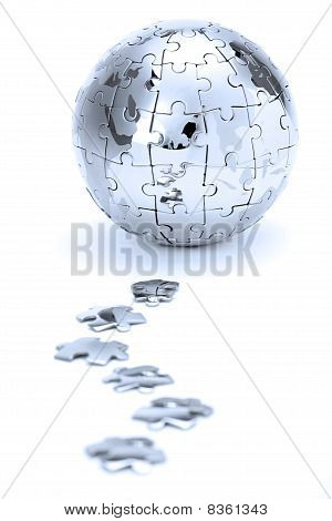 Metal Puzzle Globe In Blue Light
