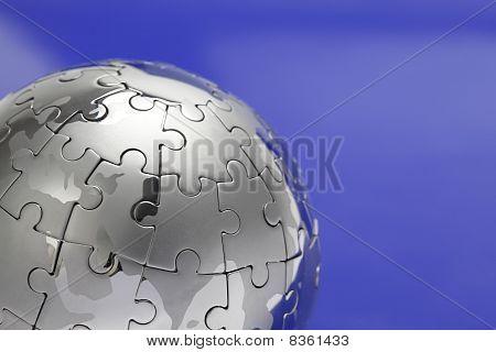 Metal Puzzle Globe, close-up