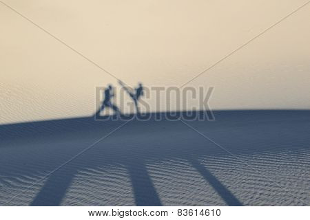 Martial artists silhouettes and shadows against sand dunes while training in self defense