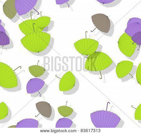 Seamless Crazy Colored Umbrellas Scattered On White