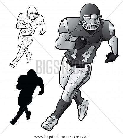 Vector Football Player Running.