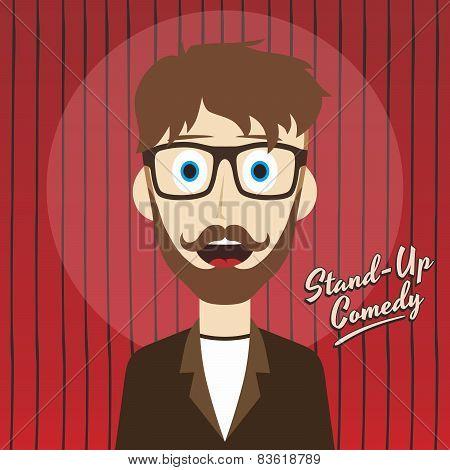 hilarious guy stand up comedian cartoon
