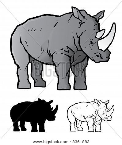 Vector Rhino And Silhouette.eps